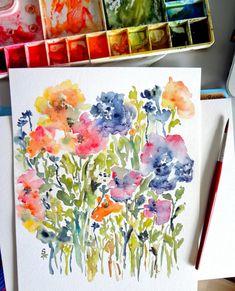 Touch of Indigo Original Watercolor Flowers by pineapplebaystudio