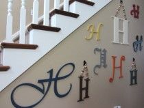 various fonts, colors, and sizes of wooden letters for to transform a bare blank wall into a decorative eclectic wall.