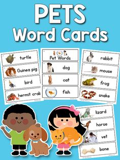 This set of printable pets pictureword cards includes 18 pet related words dog cat fish turtle guinea pig bird hermit crab rabbit mouse frog snake lizard horse vet bone food collar leash. Preschool Word Walls, Preschool Themes, Preschool Learning, Preschool Education, Preschool Printables, Kindergarten Literacy, Theme Words, Pet Vet, Creative Curriculum