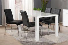ICE-ruokailuryhmä korkeakiilto valkoinen (pöytä 140x80cm+4 tuolia musta)   Sotka.fi