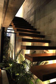 #CReOConstrucciones y #Remodelaciones. Planting under stairs - Casa Marielitas by Estudio Dayan Arquitectos