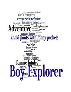 Boy Explorer Typography Art Print: An Adventure in Words...