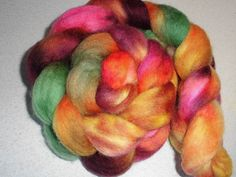 Corriedale Wool Roving - Wet Felting Roving - Nuno Felting Roving - Wine Orange Pink Green Spinning Fibers -  September Color - Awtumn by SussesSpindehjrne on Etsy