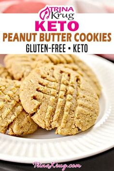 Peanut Butter Cookies are a classic! These keto peanut butter cookies are going to take that classic to a whole new level! Light, crispy and delicious. Peanut butter cookies have always been a favorite of mine. I mean, who are we kidding. Simple peanut butter is my jam. But peanut butter cookies that are keto and gluten free really hit the spot EVERY TIME! | Trina Krug @trinakrug #ketopeanutbuttercookies #ketocookies #ketocomfortfood #healthypeanutbuttercookies #ketodesserts #trinakrug Almond Butter Cookie Recipe, Gluten Free Peanut Butter Cookies, Peanut Butter Fat Bombs, Low Carb Peanut Butter, Keto Cookies, Easy Gluten Free Desserts, Free Keto Recipes, Keto Desserts, Ketogenic Recipes