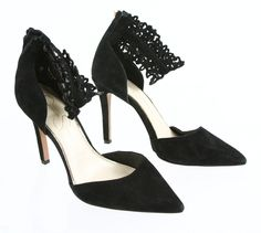 Jessica Simpson Cacy Pointed Black Eyelet Ankle Pump High Heels 9M #JessicaSimpson #PumpsClassics #SpecialOccasion