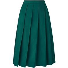 Finery Longford Pleated Skirt ($56) ❤ liked on Polyvore featuring skirts, green, a line midi skirt, blue midi skirt, green jersey, knee length pleated skirt and blue jersey