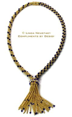 Gold and Lapis Lazuli Tassel Necklace MADE by ComplimentsByDesign