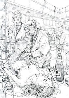 Kim Jung Gi is a South Korean artist known for his detailed drawings made without photographic reference. Kim Jung Gi is a South Korean artist known f. Sketch Manga, Drawing Sketches, Sketch Art, Drawing Skills, Sketching, Drawn Art, Kim Jung, Illustration Art, Illustrations