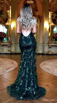 EMERALD GREEN DISTRACTION BY STUDIO MINC - #FORMAL #PROM #DRESS #BACKLESS #SEQUIN