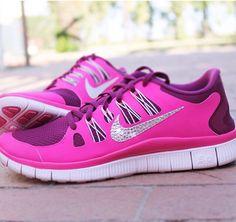 Sparkly Nike Shoes Pink Silver  cakepins.com