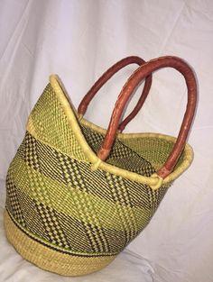 U shaped Bolga basket/ Woven elephant grass basket/ summer basket/ women basket /summer bag/natural woven basket/market basket/Unique basket African Market, Handmade Bags, Handmade Market, Market Baskets, Basket Bag, Day Bag, Casual Bags, Hats For Men, Leather Handle