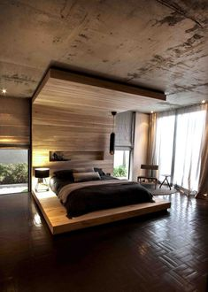 HEADBOARD DESIGN IDEA - Include A Built-In Shelf // The shelf built into this wood headboard creates a perfect spot for either decor items, books, or the essential glass of water.