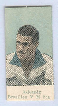 """Sports Card Forum - Top 50 Football Cards (Mostly Vintage) : #10. 1950 Tinghälls Ademir Marques de Menezes. Despite Ademir being the highest scorer in the 1950 World Cup, it was not enough for host country Brazil to avoid defeat to Uruguay in the final match. Following """"Maracanazo,"""" as the match is known, Brazil was so shamed that it changed its uniform colors from a white shirt with a blue neckline to the yellow and green we know today. Ademir shined in the tournament, however, as well as…"""
