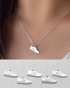 Running Shoe Necklace by Olive Yew. Proudly show your enthusiasm for running with this petite running shoe necklace in sterling silver, 14k gold filled or 14k rose gold filled. Just accomplished a 5k, 10k, 13.1 or 26.2 marathon? Show off your accomplishment!