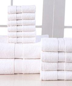 Another great find on #zulily! White Elegance Spa 12-Piece Towel Set #zulilyfinds