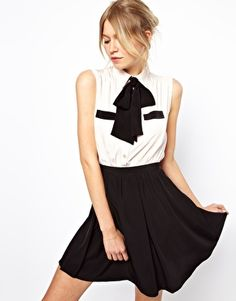 Image 1 of ASOS Skater Dress With Contrast Pussybow And Pockets