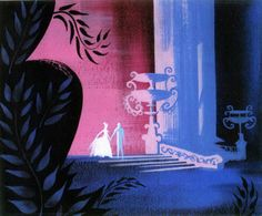 """Concept art by Mary Blair for my favourite scene in Cinderella (""""So This Is Love."""" The contrast beween pink light and blue shadows with plants in the foreground silhouetted in black really makes it for me."""