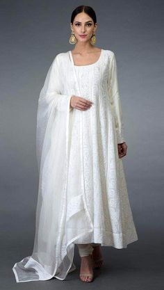 White anarkali - Off White Chikankari Hand Embroidered Anarkali Suit Trajes Anarkali, Robe Anarkali, Costumes Anarkali, White Anarkali, Lehenga Choli, White Salwar Suit, Anarkali Dress Pattern, Anarkali Bridal, Silk Anarkali Suits