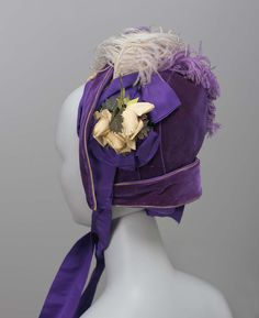 Bonnet | American; New York | 1880 | velvet, ostrich feathers | Museum of Fine Arts, Boston | Accession #: 47.224