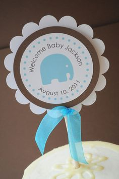 Boy Baby Shower Cake Topper Elephant Theme - Personalized With Baby's Name. $4.00, via Etsy.