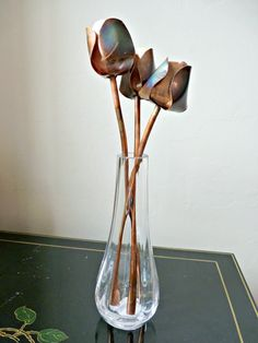 Copper tulips metal flowers home decoration by DeshcaDesigns
