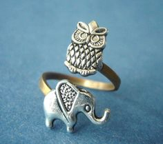 Silver owl ring with an elephant by stavroula on Etsy, $19.00