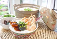 Congee with century eggs and prawns