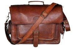 New Men Real Goat Leather Vintage Brown Messenger Shoulder Laptop Bag  Briefcase  Handmade  MessengerShoulderBag 887bbf3b0a3f1