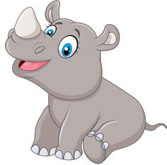Animal Cartoon Vector Images (over - Page 12 Cartoon Cartoon, Cartoon Kunst, Jungle Animals, Baby Animals, Cute Animals, Baby Animal Drawings, Cute Drawings, Jungle Theme Birthday, Baby Rhino