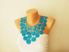 FREE SHIPPING turquoise Crochet collar necklace by ArtofAccessory, $47.00