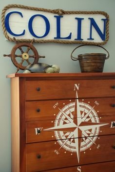 Meyers Meyers Enebo and H. grant Colin needs this for his.'Nautical Big boy room' DIY Pottery Barn Name sign Nautical Bedroom, Coastal Bedrooms, Nautical Home, Bedroom Decor, Nautical Dresser, Nautical Headboard, Coastal Nursery, Kids Bedroom, Framed Wooden Letters