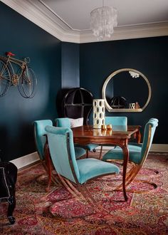 75 Vintage Dining Table Design Ideas DIY – Best Home Decorating Ideas Blue Dining Room Chairs, Modern Dining Chairs, Dining Room Lighting, Turquoise Dining Room, Table Lighting, Lounge Chairs, Outdoor Dining, Side Chairs, Pendant Lighting