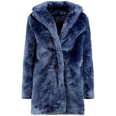Boohoo Rebecca Collared Faux Fur Coat (€37) ❤ liked on Polyvore featuring outerwear, coats, warm jacket, longline duster coat, collar coat, padded coat, wrap collar coat and blue duster coat