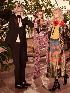 From the Gucci Pre-Fall 2016 Campaign, a wool mohair embroidered tuxedo with exotic loafers (Lucas Dambrod), a Herbarium printed velvet jacket and flare pant, square frames with pale blue lenses and black fingerless gloves with pearls (Polina Oganicheva). A silk patched bomber, silk shirt, duchesse satin printed skirt and boot with tiger head spur hardware (Eva Minaeva).