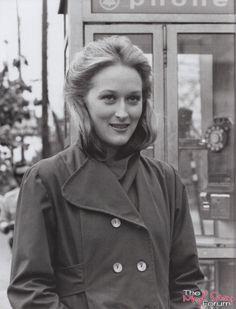 "Meryl Streep on the set of ""The Deer Hunter"" (1978)."
