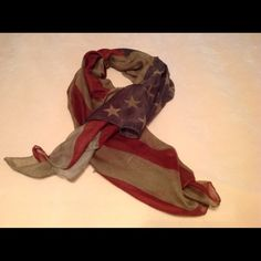 American Flag Scarf New without tags. Beautiful and lightweight olive, navy and burgundy American flag scarf. Big enough to be used as a shawl as well. Accessories Scarves & Wraps