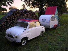 ohh so cute!!! retro vintage car and caravan