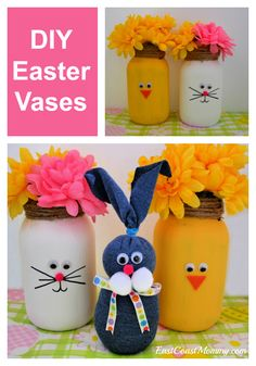 These adorable Easter vases are the perfect holiday DIY. They are simple, use recycled materials, and are fun for adults and kids. Mason Jar Crafts, Mason Jars, Easter Crafts For Kids, Easter Ideas, Craft Tutorials, Diy Projects, Recycled Materials, Holiday Fun, Party Planning