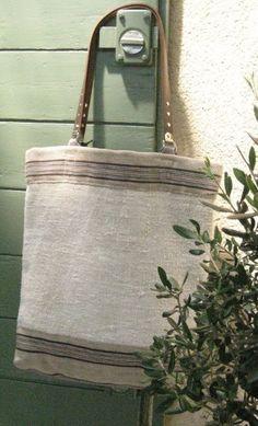 Grain Sack Tote Bag Leather Handles Natural Hemp by rebeccasaix, $140.00