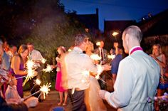 Sparklers in the court yard at Upwaltham Barns