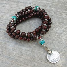 108 mala rosewood prayer beads and genuine Turquoise gemstone wrap bracelet or necklace