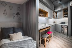 From having invisible cabinets to showcasing smart furniture picks, this tiny bachelor pad home inspires us to declutter and revamp our own space Small Studio Apartment Design, Studio Condo, Condo Interior Design, Tiny Studio Apartments, Studio Apartment Layout, Condo Design, Small Room Design, Studio Living, House Design