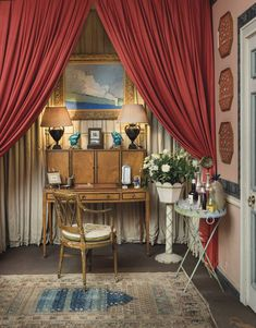 An alcove in the drawing room of Drue Heinz's London home. The original scheme for the room was created by John Fowler and includes his… New York Townhouse, Mews House, Sutton Place, World Of Interiors, Vintage Interiors, Small Furniture, Drawing Room, Furniture Collection, Home And Garden