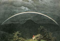 Mountain Landscape with Rainbow, 1809 - Caspar David Friedrich Caspar David Friedrich, C D Friedrich, Nocturne, Days Of Creation, Horsemen Of The Apocalypse, Rainbow Painting, Mountain Paintings, Beginner Painting, Wassily Kandinsky