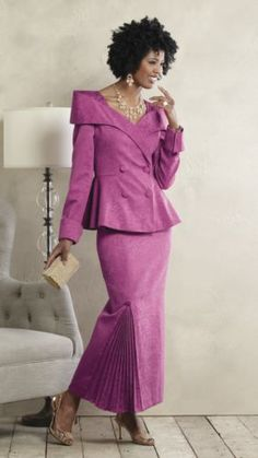"""Bree Skirt Suit from ASHRO  -  Ensemble features crossover neckline, double-breasted jacket with off-the-shoulder drape, peplum and """"French style"""" turned-up cuffs. Side back elastic-waist skirt has pleated godet insert with covered button at bottom."""