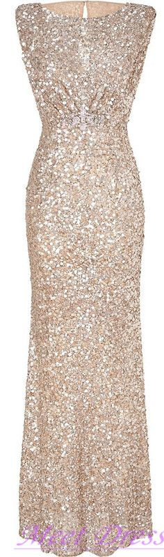 Stunning sparkly Champagne Long Bridesmaid Dress Glitter Sequined Prom Dresses Evening Gowns
