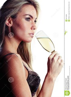 images woman drinking champagne | Very beautiful woman dressed in sexy lingerie is drinking champagne.