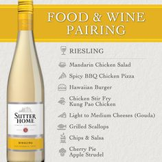 With delicious flavors of peach, apricot, and a hint of sweetness, Sutter Home Riesling pairs perfectly with grilled scallops, chicken stir fry, fettuccine Alfredo, Kung Pao chicken, light to medium cheeses – especially Gouda, mandarin chicken salads, spicy pork chops, good, old-fashioned chips and salsa and fruity desserts such as cherry pie or apple strudel.