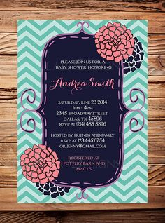 Baby shower invitation, flowers baby shower Invitation, navy, coral, teal,  boy, girl, Baby Shower Invite, pink, navy blue, digital on Etsy, $21.00