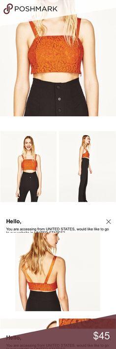 Zara cropped top Lace orange med Zara Tops Tank Tops
